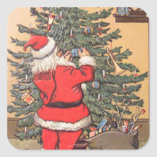 santa decorating christmas tree square sticker