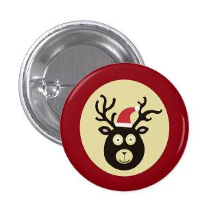 Santa Deer Christmas Button