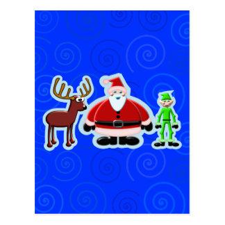 Santa Deer Elf Christmas Design Postcard