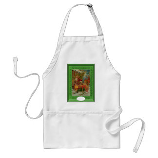 Santa delivering gifts with a sleigh adult apron