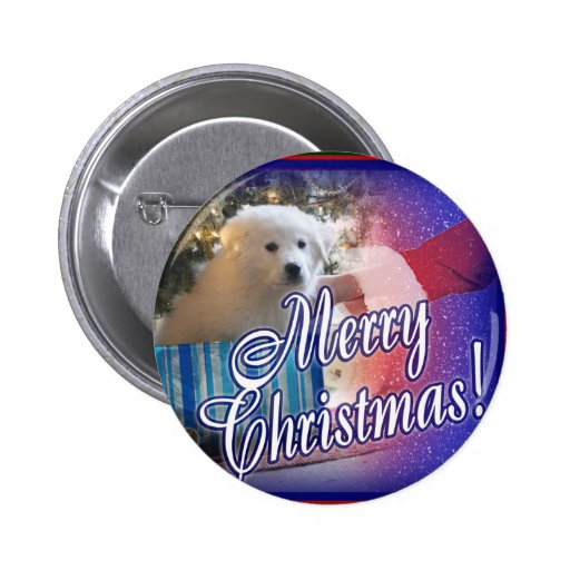 Santa Delivers Christmas Puppy Under Tree 2 Inch Round Button