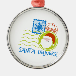 Santa Delivers! Round Metal Christmas Ornament