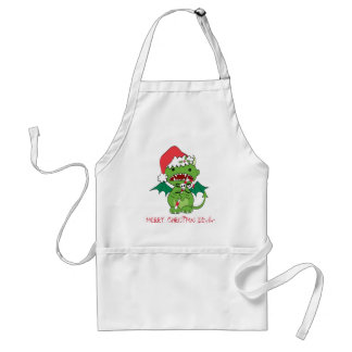 Santa Devil with candy cane Adult Apron