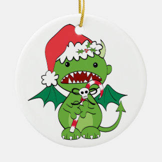 Santa Devil with candy cane Ornament