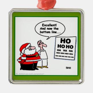 Santa divertido en el ornamento del navidad del adorno cuadrado plateado