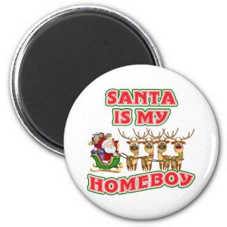 Santa divertido es mi Homeboy Imán Redondo 5 Cm