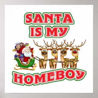 Santa divertido es mi Homeboy Posters