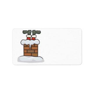 santa divertido pegado en chimenea etiqueta de dirección