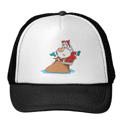 santa divertido pegado en dibujo animado de la chi gorras de camionero