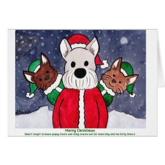 Santa Dog and the Kitty Elves Card