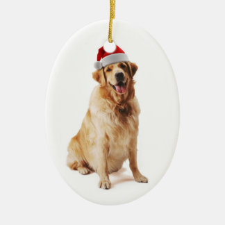 Santa Dog Ceramic Ornament