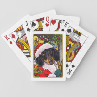 Santa Dog Dachshund Christmas Playing Cards