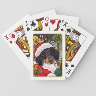 Santa Dog Dachshund Christmas Playing Cards