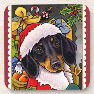 Santa Dog Dachshund Christmas Square Coaster