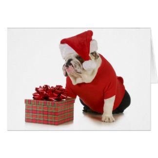 Santa Dog - English Bulldog Dressed Like Santa Card