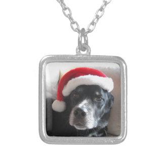 Santa Dog-Labrador Rottweiler Mix Silver Plated Necklace