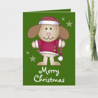 Santa Dog Merry Christmas Holiday Card Gift card