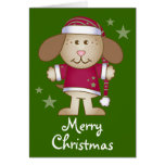 Santa Dog Merry Christmas Holiday Card Gift
