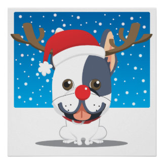 Santa dog Reindeer Print