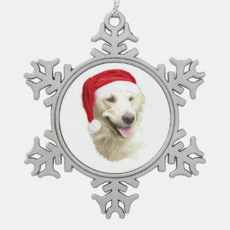 Santa Dog Snowflake Pewter Christmas Ornament