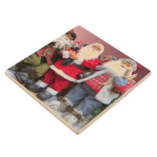 Santa Dolls Christmas Display Wood Coaster