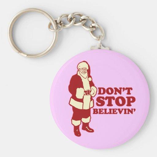 Santa, Don't Stop Believin' Basic Round Button Keychain