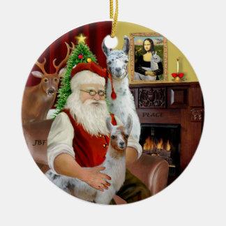 Santa - dos llamas (mamá+bebé) adorno navideño redondo de cerámica