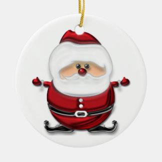 Santa Double-Sided Ceramic Round Christmas Ornament