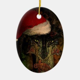 Santa Dragon Christmas Oval Ornament