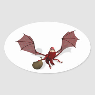 Santa Dragon Oval Sticker