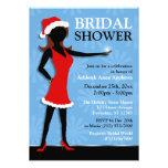 Santa Dress Girl Blue Holiday Bridal Shower Announcement