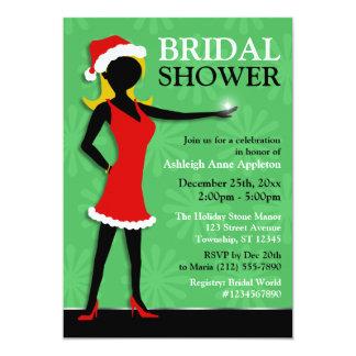 Santa Dress Girl Green Holiday Bridal Shower Card