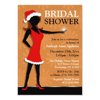 Santa Dress Girl Orange Holiday Bridal Shower Card