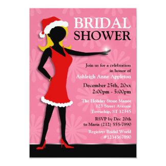 Santa Dress Girl Pink Holiday Bridal Shower Card