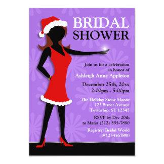 Santa Dress Girl Purple Holiday Bridal Shower Card