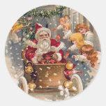 Santa Drives a Race Car Stickers
