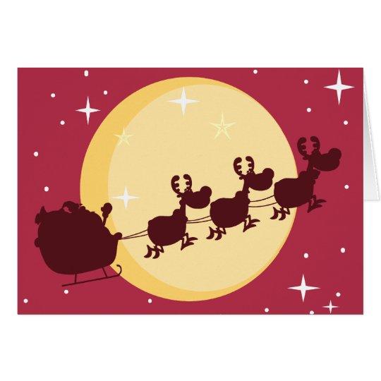 Santa driving a sleigh Christmas greeting card