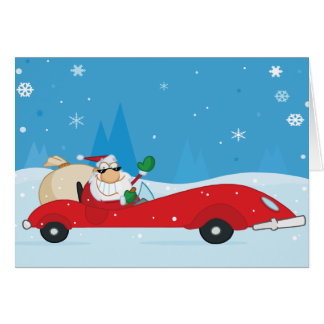 Santa driving a sports car Christmas greeting card