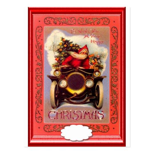 Santa driving a veteran car postcard
