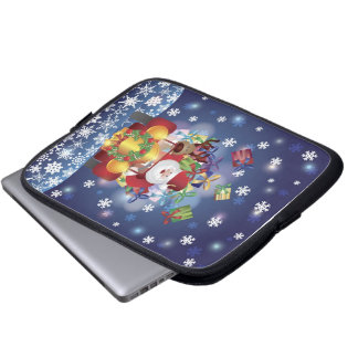 Santa Driving Antique Car Electronics Bag Laptop Computer Sleeve
