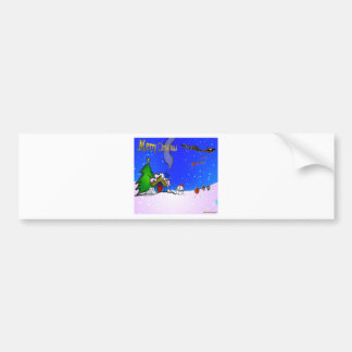 Santa_drops_gifts_by_snowman_and_snow_covered_hous Bumper Sticker