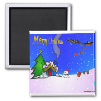 Santa_drops_gifts_by_snowman_and_snow_covered_hous Imán De Nevera