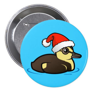 Santa Duckling 3 Inch Round Button