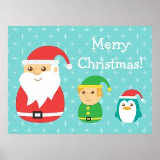 Santa, duende lindo y pingüino alineados para el n posters
