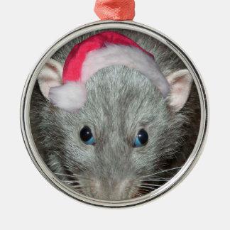 Santa Dumbo rat Christmas Round Metal Christmas Ornament