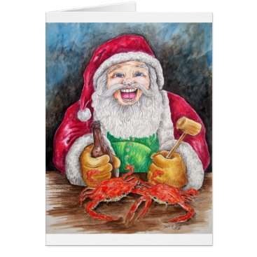 Christmas Themed Santa eating steamed crabs card