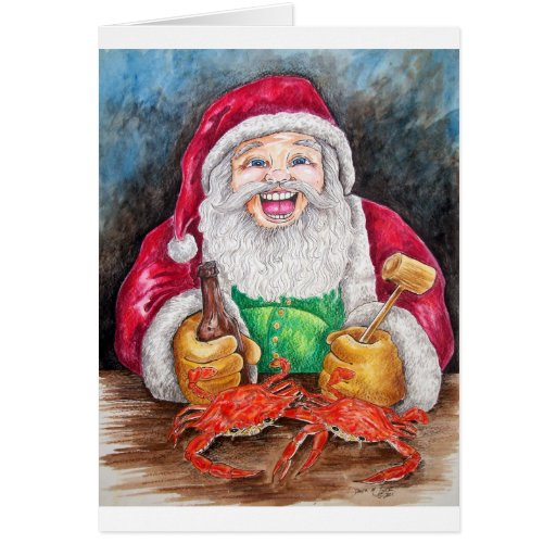 Santa eating steamed crabs cards