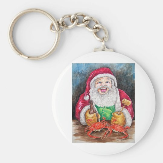 Santa eating steamed crabs keychain