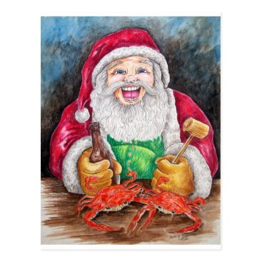 Christmas Themed Santa eating steamed crabs postcard