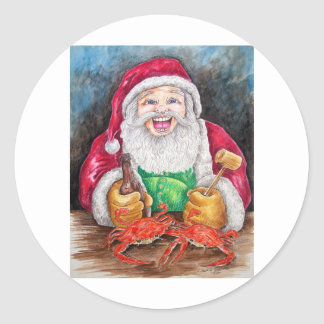 Santa eating steamed crabs stickers